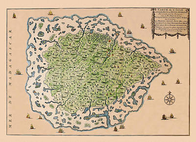 Photograph - Map Of Mauritius 1708 by Andrew Fare