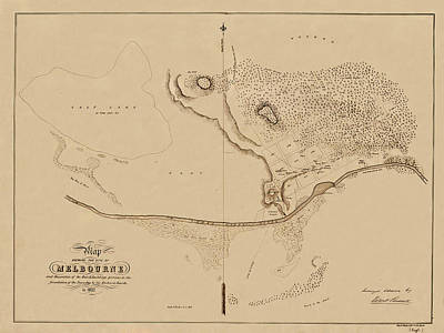 Photograph - Map Of Melbourne 1837 by Andrew Fare