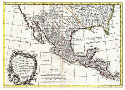 Texas Drawing - Map Of Mexico Texas Louisiana And Florida - Bonne - 1771 by Pablo Romero