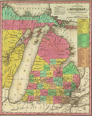 Drawing - Map Of Michigan 1836 by Mountain Dreams