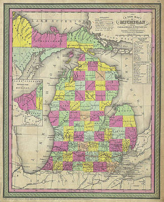 Drawing - Map Of Michigan 1853 by Mountain Dreams