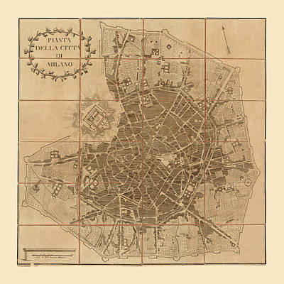 Photograph - Map Of Milan 1788 by Andrew Fare
