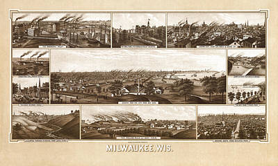 Photograph - Map Of Milwaukee 1882 by Andrew Fare