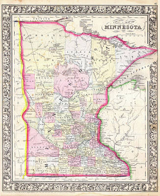 Drawing - Map Of Minnesota 1864 by Mountain Dreams