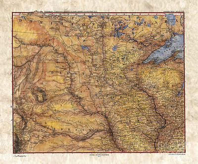 Painting - Map Of Minnesota, Map Of Iowa, Map Of Lake Superior, Sepia Map, Antique Map, River Map by Lisa Middleton