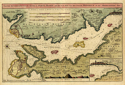 Photograph - Map Of Minorca 1710 by Andrew Fare