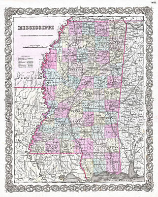 Drawing - Map Of Mississippi by Joseph Hutchins Colton