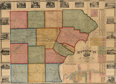 Old Mixed Media - Map Of Monroe County Michigan 1859 by Design Turnpike