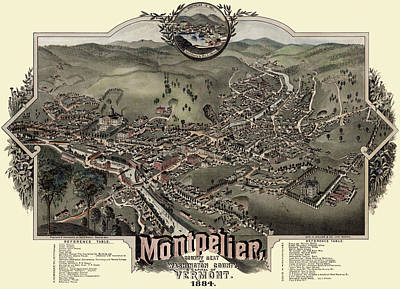 Photograph - Map Of Montpelier 1884 by Andrew Fare