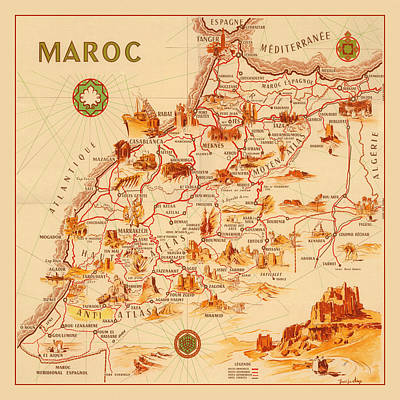 Photograph - Map Of Morocco 1950 by Andrew Fare