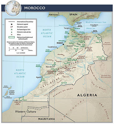 Rabat Mixed Media - Map Of Morocco 2 by Roy Pedersen