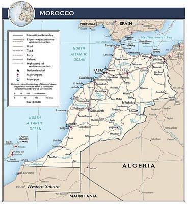 Rabat Mixed Media - Map Of Morocco by Roy Pedersen