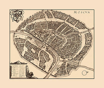 Photograph - Map Of Moscow 1646 by Andrew Fare