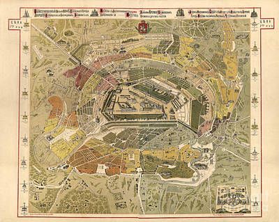 Old Map Painting - Map Of Moscow - 1882 by Pablo Romero