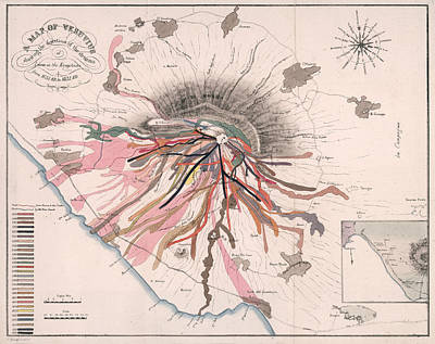 Drawings Royalty Free Images - Map of Mount Vesuvius - Pompeii, Italy - Volcano - Antique Geological Map Royalty-Free Image by Studio Grafiikka