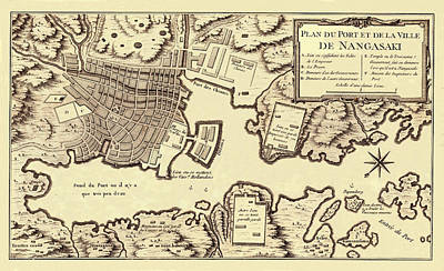 Map Of Japan Photograph - Map Of Nagasaki 1752 by Andrew Fare
