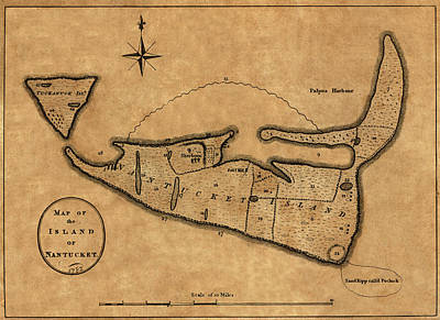 Photograph - Map Of Nantucket 1782 by Andrew Fare