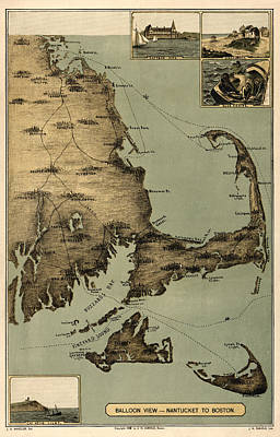 Vintage Map Photograph - Map Of Nantucket Boston 1885 by Andrew Fare