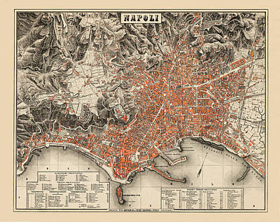 Vintage Map Photograph - Map Of Naples 1860 by Andrew Fare