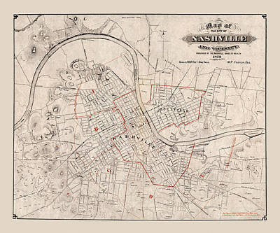 Photograph - Map Of Nashville 1879 by Andrew Fare
