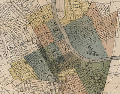Digital Art - Map Of Nashville 1880s  by Keith Dotson