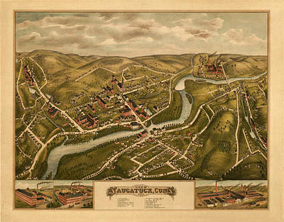 Photograph - Map Of Naugatuck 1877 by Andrew Fare