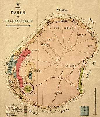 Photograph - Map Of Nauru 1926 by Andrew Fare