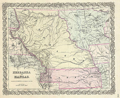 Drawing - Map Of Nebraska And Kansas by Joseph Hutchins Colton