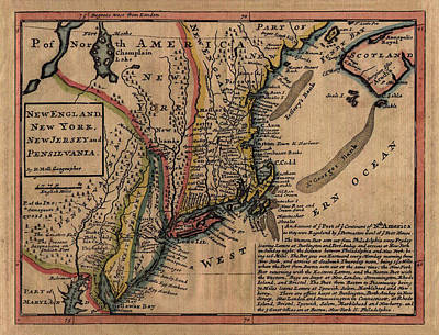 Map Of Pennsylvania Photograph - Map Of New England 1729 by Andrew Fare