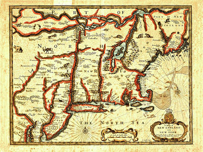 Map Of New York Photograph - Map Of New England And New York 1676 by Mark Rogan