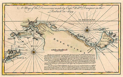 Photograph - Map Of New Guinea 1699 by Andrew Fare