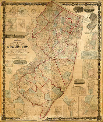 Photograph - Map Of New Jersey 1860 by Andrew Fare