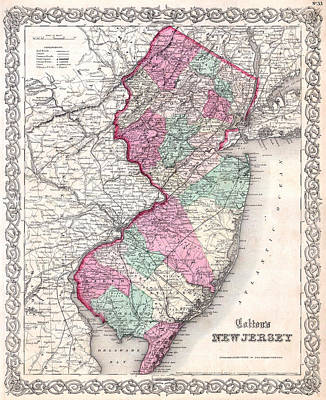 Drawing - Map Of New Jersey by Joseph Hutchins Colton