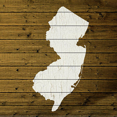 Nj Mixed Media - Map Of New Jersey State Outline White Distressed Paint On Reclaimed Wood Planks Custom Brown by Design Turnpike
