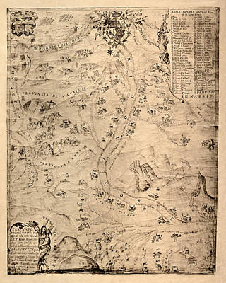 Vintage Map Photograph - Map Of New Mexico 1744 by Andrew Fare