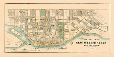 Photograph - Map Of New Westminster 1892 by Andrew Fare