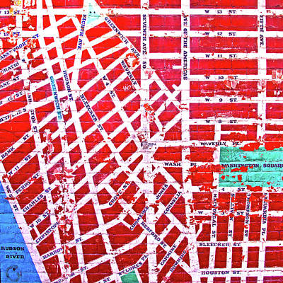 Photograph - Map Of New York City Painted On Wall by Mark Andrew Thomas