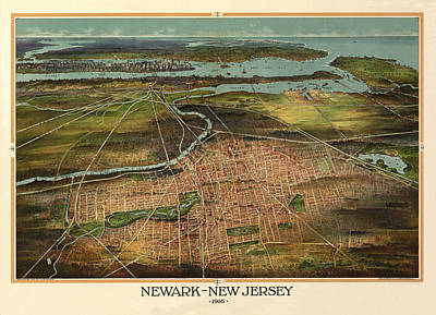 Photograph - Map Of Newark 1916 by Andrew Fare