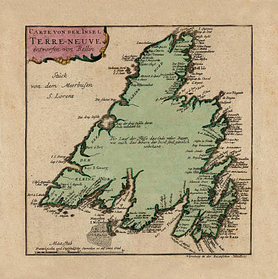 Photograph - Map Of Newfoundland 1785 by Andrew Fare