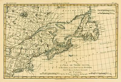Newfoundland Drawing - Map Of Newfoundland Nova Scotia And by Vintage Design Pics