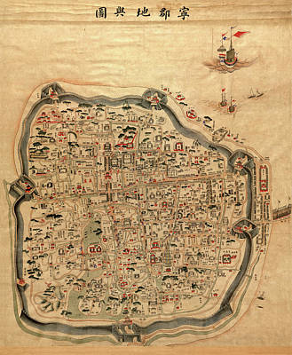 Photograph - Map Of Ningbo 1850 by Andrew Fare