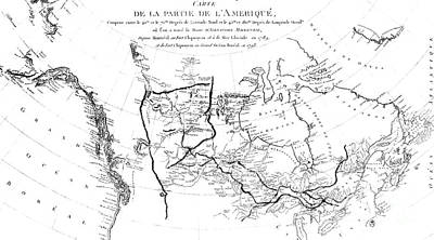 Voyage Drawing - Map Of North America, Plotting The Expeditions Of Sir Alexander Mackenzie In 1789 And 1798 To The Ar by French School