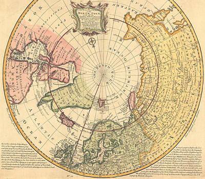 Arctic Drawing - Map Of North Pole by Emanuel Bowen