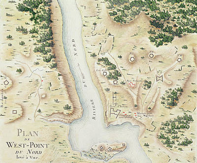 Hudson River Drawing - Map Of North West Point Va by F Dubourg