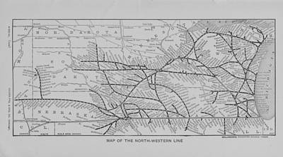 1903 Map Of North Western Line Routes Art Print by Chicago and North Western Historical Society