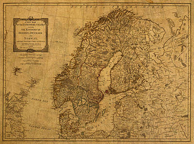 Map Of Norway Sweden Denmark And Scandinavia Circa 1794 On Worn Distressed Parchment Art Print by Design Turnpike