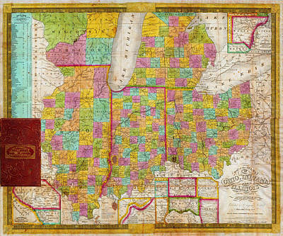 Antique Map Painting - Map Of Ohio Indiana Illinois And Michigan by Celestial Images