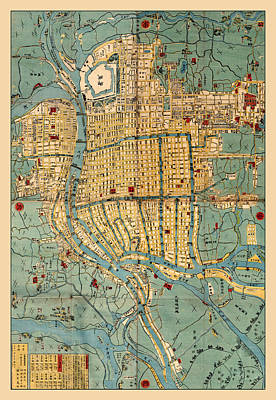 Photograph - Map Of Osaka 1853 by Andrew Fare