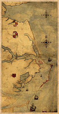 Outer Banks Mixed Media - Map Of Outer Banks Vintage Coastal Handrawn Schematic On Parchment Circa 1585 by Design Turnpike