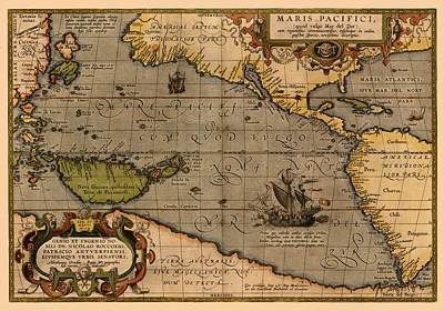 Vincent Van Gogh - Map Of Pacific Ocean 1589 by Andrew Fare